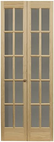 LTL Home Products 852720 Traditional French Divided Glass Interior Bifold Solid Wood Door, 24″x80″, Unfinished