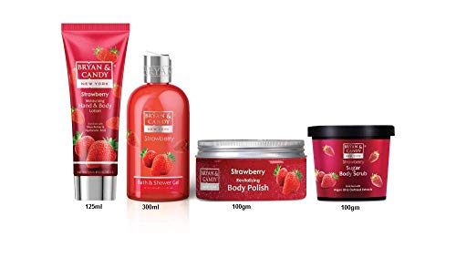 41cgWqhe%2B3L Bryan & Candy New York Strawberry Bath Tub Kit for Complete Home Spa Experience (Shower Gel, Hand & Body Lotion, Sugar Scrub, Body Polish)