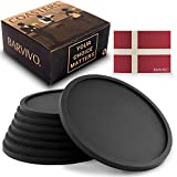 Barvivo Drink Coasters Set of 8 - Tabletop Protection for Any Table Type, Wood, Granite, Glass, Soapstone, Sandstone, Marble, Stone Tables - Perfect Soft Coaster Fits Any Size of Drinking Glasses.