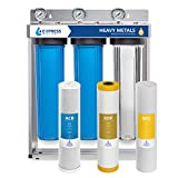 Express Water Heavy Metal Whole House Water Filter - 3 Stage Home Water Filtration System - Sediment, KDF, Carbon Filters - includes Pressure Gauges, Easy Release, and 1' Inch Connections