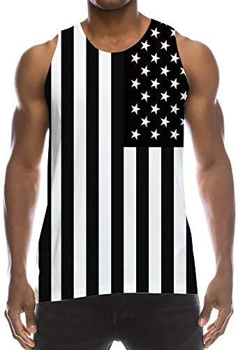 Guys Tropical Casual Tank Tops Patriots USA Flag Black White Stripes Stars Sleeveless Slim Fit Creative Tshirts Vintage Training Muscular Shirt Underwear for Party Vacation Sauna