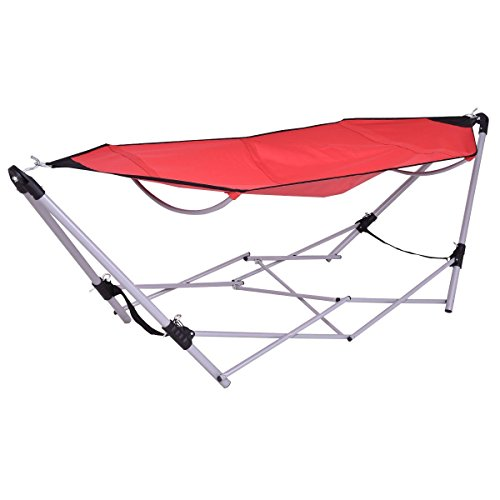 Portable Folding Hammock Red Lounge Camping Bed Steel Frame Stand Carry Bag NEW