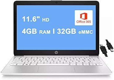 2020 Premium HP Stream 11 Laptop Computer 11.6″ HD WLEDAnti-Glare Intel Celeron Processor N4000 4GB RAM 32GB eMMC Office 365 Personal USB-C WiFi HDMI Win 10 + iCarp Wireless Mouse