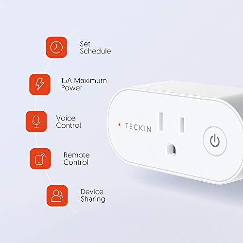 Smart Plugs That Work with Alexa, TECKIN 15A Alexa Smart Plugs with Remote Control, Schedule and Timer Function, FCC ETL Certification, No hub Require, 4 Pack 13