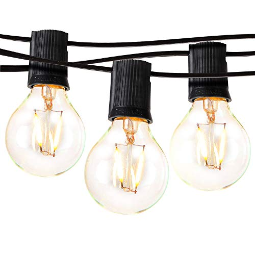 Brightech Ambience Pro - LED Outdoor Globe String Lights - Hanging 1W Vintage Edison Bulbs - Waterproof Patio Lights Create Cafe Ambience On Your Balcony - 26 Ft - Black