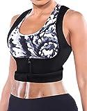 Newbbby Women's Weight Loss Waist Trainer Neoprene Corset Sauna Vest Slimming Hot Sweat Tank Top Body Shaper Cincher with Zipper (Black Sauna Vest, L)
