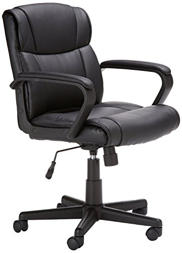 AmazonBasics Classic Leather-Padded Mid-Back Office Chair with Armrest - Black
