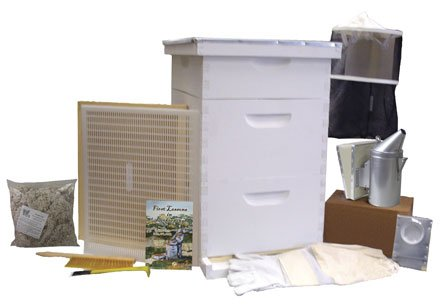 Bee Hive - Gold Standard Bee Hive Starter Kit (Fully Assembled - Wood) with Beekeeping Supplies