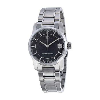 Tissot T-Classic Automatic Black Dial Titanium Ladies Watch T0872074405700
