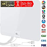 [Upgraded 2019] 1byone Digital Amplified Indoor HD TV Antenna, Amplifier Signal Booster Support 4K 1080P UHF VHF Freeview HDTV Channels, 20ft Coaxial Cable