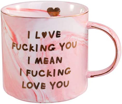 Lapogy I Love You Coffee Mug for Her Funny Girlfriend gifts,Funny Christmas/Birthday Gifts Mug, Presents Ideas for Women,Valentine's Day,Pink Marble Coffee Cup 12 Oz