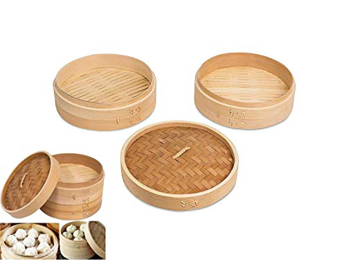 All Natural 9 Inch Asian Kitchen Bamboo Steamer Basket