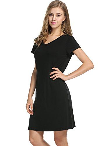 Avidlove Womens Short-Sleeve V-Neck Nightie Sleep Shirt Viscose Sleepwear Nightshirt