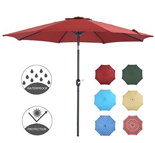 Patio Watcher 9 Feet Patio Umbrella Outdoor Umbrella with Push Button Tilt and Crank for Market, Backyard, Pool, Garden, Deck, 8 Ribs, Red
