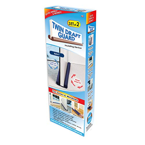 Twin Draft Guard Value Pack of 2, Blue Energy Saving Under Door Draft Stopper