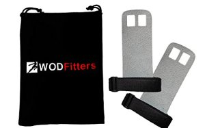 WODFitters Textured Leather Hand Grips For Cross Training, Kettlebells, Powerlifting, Chin Ups, Pull Ups, WODs & Gymnastics - With Grips Storage Pouch (Grey, Small - Fits up to 4