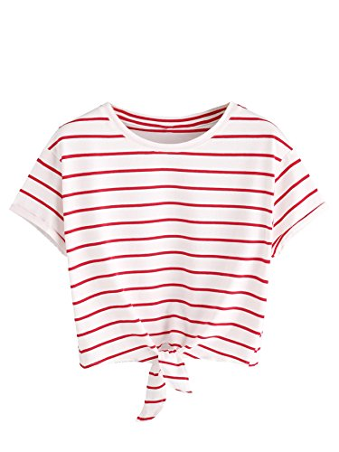 726adff2d37e Romwe Women s Knot Front Cuffed Sleeve Striped Crop Top Tee T-Shirt -  Fashion Trends Revealed