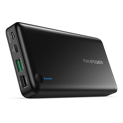 USB C Power Bank RAVPower 20100 Portable Charger with QC 3.0 Qualcomm Quick Charge 3.0, 20100mAh Input & Output Type C Battery Pack for Nintendo Switch, iPhone, 12-inch MacBook, Galaxy and More