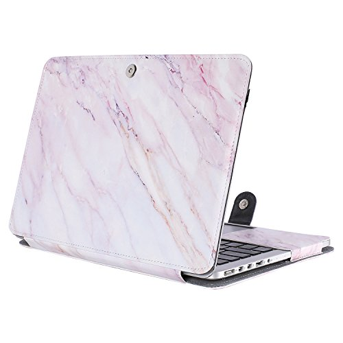 MOSISO PU Leather Case Only Compatible with [Previous Generation] MacBook Pro Retina 15 Inch A1398, Premium Quality Book Folio Protective Cover Sleeve with Stand Function, Pink Marble