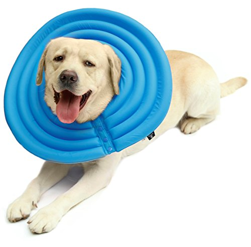 UsefulThingy Dog Recovery Collar - Soft Comfy Cone E-Collar After Surgery, Anti-Bite/Lick - for Cats Too, Quicker Healing - 4 Sizes, 2 Colors (XL, Blue)