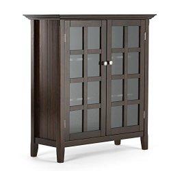 Acadian Solid Wood 39 inch Wide Rustic Medium Storage Cabinet in Brunette Brown