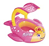 SWIM SAFE Pink Fish Baby Pool Float   Canopy Inflatable Boat for Babies and Toddlers   Baby Float for Swimming and Play