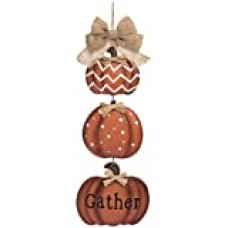 One Holiday Way Tiered Vertical Rustic Pumpkin Welcome Sign Wall Art - Wall Hanging Fall Decoration (Gather)