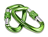 Kimjee 12KN Aluminum Carabiner D-Ring Locking Carabiners Clip, Keychain Clip, Screw Gate Lock Hooks Spring Link Buckle for Hammock Camping Hiking Backpack Dog Leash (Green 2)