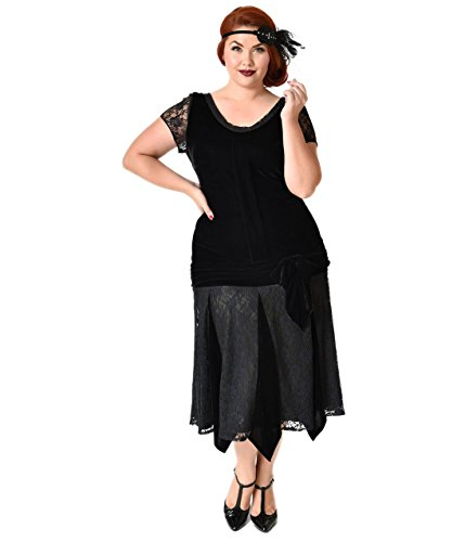 Unique Vintage Plus Size 1920s Style Black Velvet Short ...