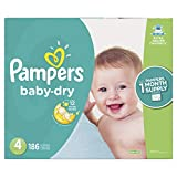 Diapers Size 4, 186 Count - Pampers Baby Dry Disposable Baby Diapers, ONE MONTH SUPPLY (Packaging May Vary)