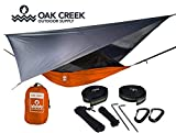 Lost Valley Camping Hammock (Orange and Gray)  Bundle Includes Mosquito Net, Rain Fly, Tree Straps, Compression Sack   Weighs 4 Pounds, Perfect for Hammock Camping   Lightweight Nylon Single Hammock
