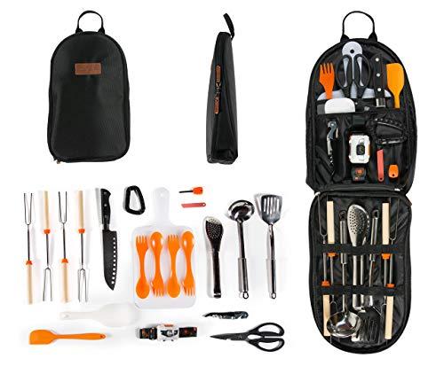 Camping Cooking Utensil Organizer Travel Set: 21 Piece Portable Camp Kitchen Utensil Travel Kit