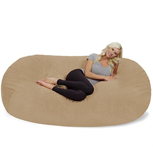 Chill Sack Bean Bag Chair: Huge 7.5' Memory Foam Furniture Bag and Large Lounger - Big Sofa with Soft Micro Fiber Cover - Tan Pebble