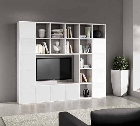 Legnodesign Parete Attrezzata Porta Tv Libreria Bianco
