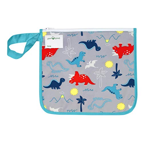 green sprouts Insulated Reusable Snack Bag | Keeps Food Fresh | Insulated Layer, Food-Safe, Waterproof & Easy-Clean Material, Aqua Dinosaurs