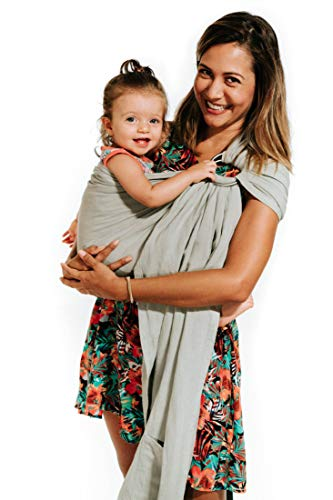 Luxury Ring Sling Baby Carrier – Extra Soft Bamboo & Linen Fabric, Full Support and Comfort for Newborns, Infants & Toddlers - Best Baby Shower Gift - Great for Men Too (Sage Green)