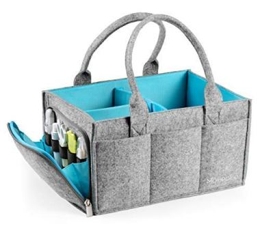 Premium Baby Diaper Caddy Organizer | Portable Nursery Storage Bin | Car Seat Tote with Zipper Pocket & 5mm Heavy Duty Felt by Mollie Ollie