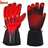 Rabbitroom Winter Electric Heated Gloves Battery Power Heating Gloves Touchscreen Texting Warm Thermal Gloves for Hiking Skiing Hunting Hand Warmer (No Button)