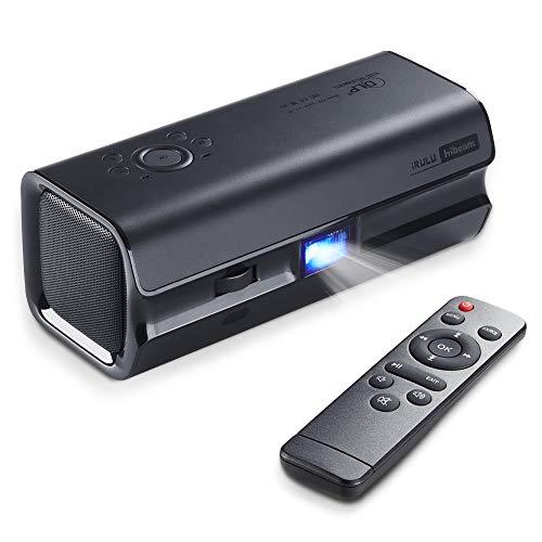 Mini DLP Movie Projector,iRULU HiBeam H60 2019 Upgrade Portable Projector,HDMI 1080P,VGA,AV,USB,Double Speaker Home Theater Projectors for Entertainment Gaming
