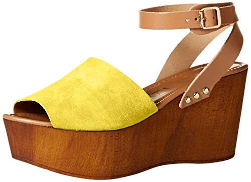41dXHIJ6TAL Mixed-texture leather sandal featuring wooden heel and platform Crisscross adjustable ankle straps with buckle
