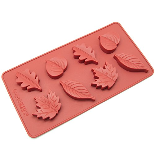 Freshware CB-600RD 8-Cavity Leaf Shape Silicone Mold for Making Soap, Candle, Candy, Chocolate, and