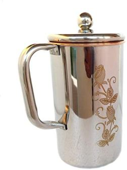 VEDIC-COPURE-Water-Pitcher-Flower-Print-Outside-Stainless-Steel-Utensils-Inside-Copper-Jug-for-Ayurveda-Healing-15-L-Bronze