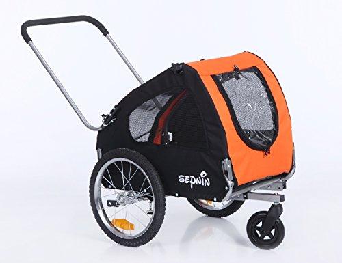 Sepnine 2 in 1 Pet Dog Bicycle/Bike Carrier/Trailer/Jogger 10305 (Orange/Black)