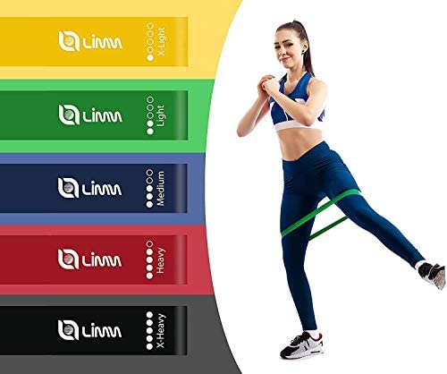 Limm Resistance Loop Exercise Bands - Set of 5 Bands for Working Out with Instruction Guide & Carry Bag - Bands for Legs and Butt 2