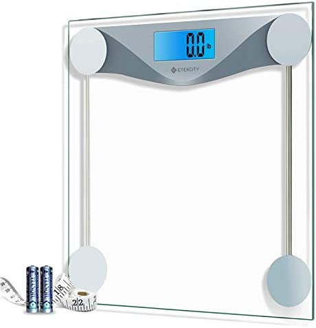 Etekcity Digital Body Weight Bathroom Scale with Body Tape Measure, Large Blue LCD Backlight Display, High Precision Measurements, 6mm Tempered Glass, 400 Pounds, Silver