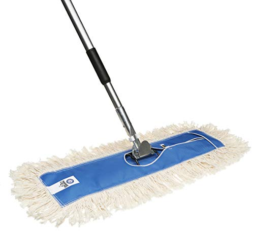 Nine Forty USA Flat Hardwood Floor Cotton Dry Dust Mop Head 24 Inch Set with Handle | Residential | Commercial Duster Broom