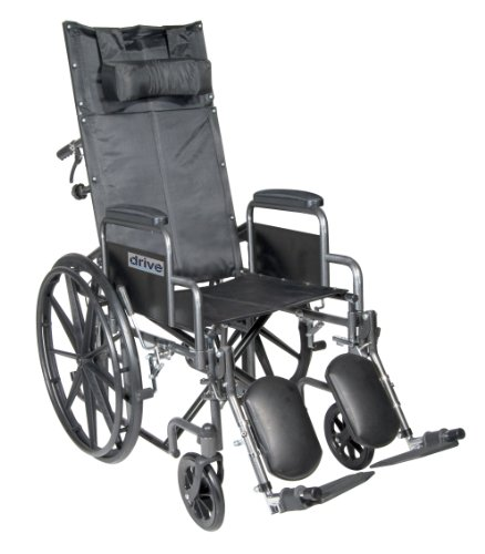 Drive Medical Silver Sport Reclining Wheelchair with Detachable Desk Length Arms and Elevating Legrest, Silver Vein, 18'