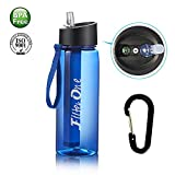 FilterOne Personal Water Filter Bottle & Built-in Compass, BPA Free Portable 2-Stage Integrated Personal Filter Straw for Hiking Camping Survival or Emergency, Leakproof Reusable Straw