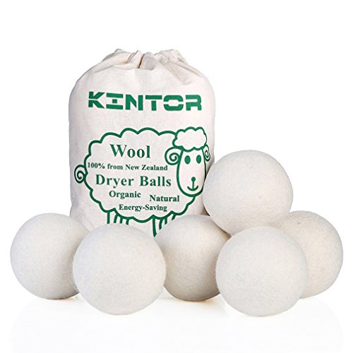 KINTOR Wool Dryer Balls XL 6 Pack 2.95', 100% New Zealand Wool Organic Fabric Softener, Hypoallergenic Baby Safe & Unscented, Chemical Free to Reduce Wrinkles & Static Cling, Shorten Drying Time