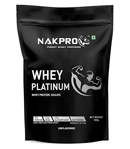 NAKPRO Platinum Whey Protein Isolate 90% (Natural, Raw, Pure, Unflavored, USA made) – 500g